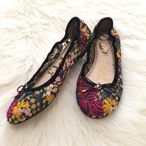 Sam Edelman Felicia Embroidered Lace Ballet Flats